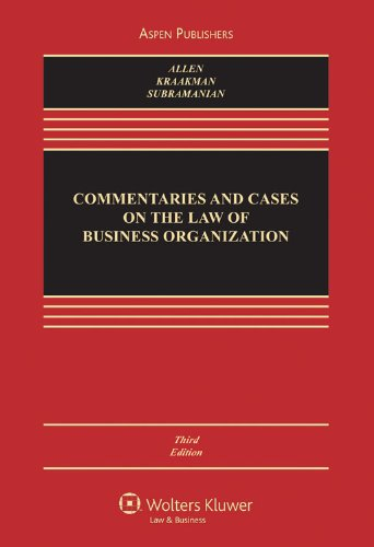 Commentaries and Cases on the Law of Business Organizations  3rd 2009 (Revised) edition cover