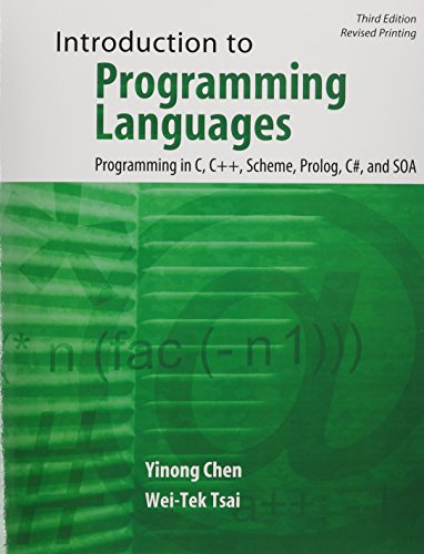 Introduction to Programming Languages Programming in C C++ Scheme Prolog C# and SOA 3rd (Revised) edition cover