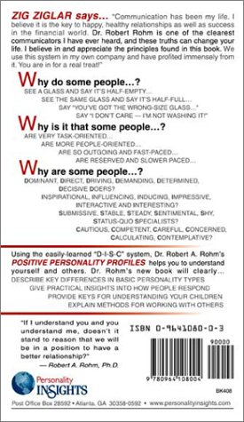 Positive Personality Profiles D-I-S-C-Over Personality Insights to Understand Yourself and Others! 4th 2005 (Reprint) edition cover