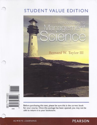 Introduction to Management Science, Student Value Edition  11th 2013 edition cover