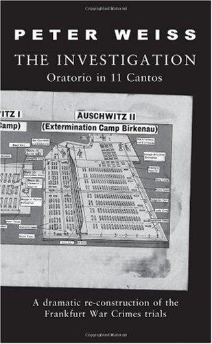 Investigation An Oratorio in 11 Cantos  1996 (Reprint) edition cover
