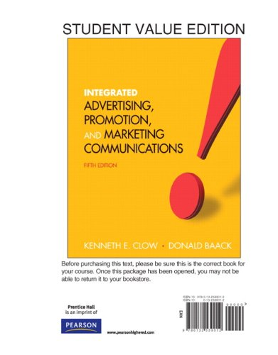 Integrated Advertising, Promotion and Marketing Communications, Student Value Edition  5th 2012 9780132539012 Front Cover