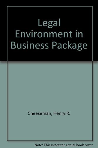 Legal Environment in Business Package:  2003 edition cover