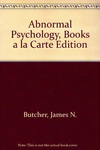 Abnormal Psychology, Books a La Carte Edition:   2013 edition cover