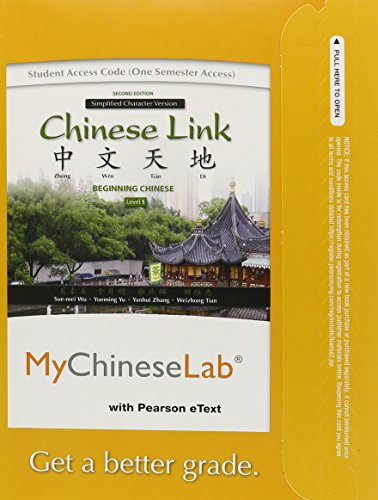 MyChineseLab with Pearson EText -- Access Card -- for Chinese Link Level 1 Simplified Character Version (one Semester Access) 2nd 2011 9780205978021 Front Cover