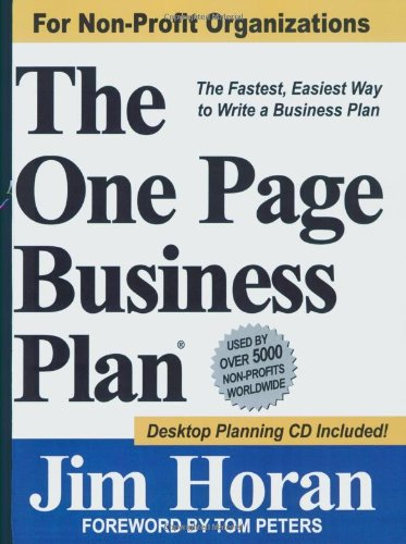 One Page Business Plan for Non-Profit Organizations The Fastest, Easiest Way to Write a Business Plan!  2007 edition cover