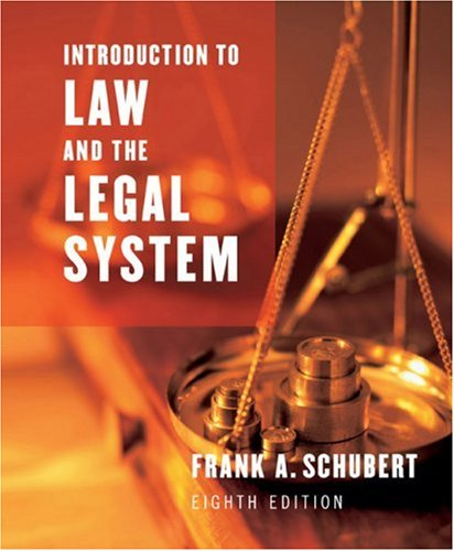 Introduction to Law and the Legal System  8th 2004 9780618312023 Front Cover