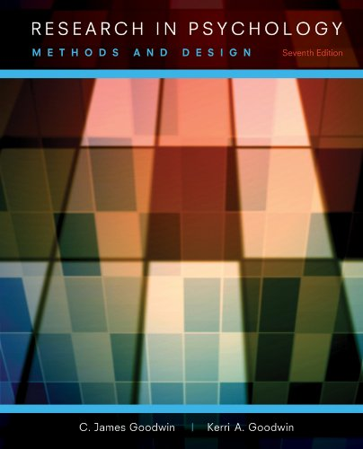 Research in Psychology Methods and Design 7th 2013 9781118360026 Front Cover