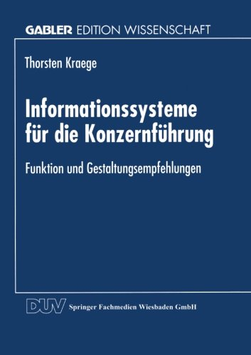 Informationssysteme F�r Die Konzernf�hrung   1998 9783824468027 Front Cover