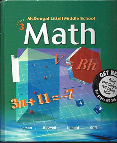 Middle School Math, Course 3 Teachers Edition, Instructors Manual, etc.  9780618250028 Front Cover
