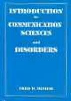 Introduction to Communication Science and Disorders   1994 edition cover