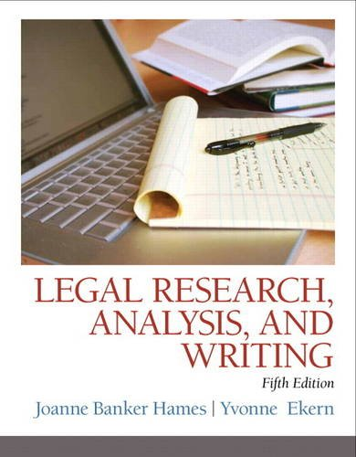 Legal Research, Analysis, and Writing  5th 2015 edition cover