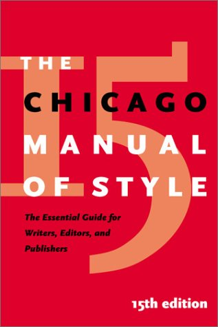 Chicago Manual of Style  15th 2003 edition cover