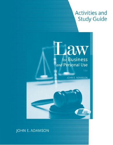 Law for Business and Personal Use  18th 2008 (Guide (Pupil's)) 9780538446037 Front Cover