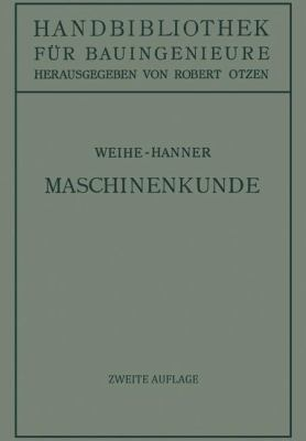 Maschinenkunde  2nd 1935 edition cover