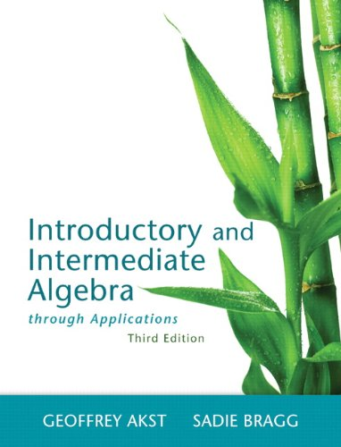 Introductory and Intermediate Algebra Through Applications  3rd 2014 edition cover