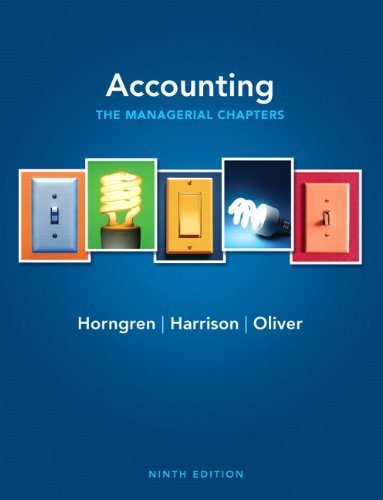 Accounting The Managerial Chapters 9th 2012 9780132569040 Front Cover