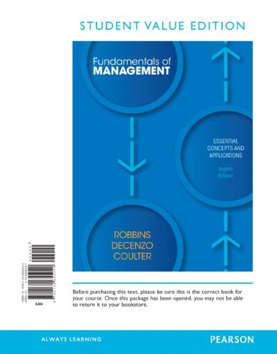 Fundamentals of Management  8th 2013 9780132655040 Front Cover