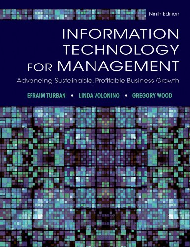 Information Technology for Management Advancing Sustainable, Profitable Business Growth 9th 2013 edition cover