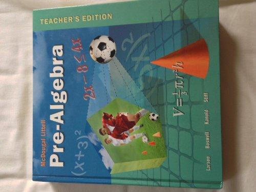 Pre-Algebra Teachers Edition, Instructors Manual, etc. 9780618250042 Front Cover