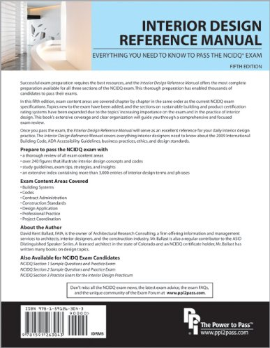 Interior Design Reference Manual Everything You Need to Know to Pass the NCIDQ Exam 5th 2010 edition cover