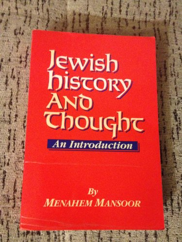 Jewish History and Thought : An Introduction 1st 1991 9780881254044 Front Cover