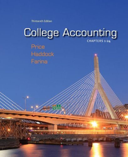 College Accounting Chapters 1-24 with Connect Plus  13th 2012 edition cover