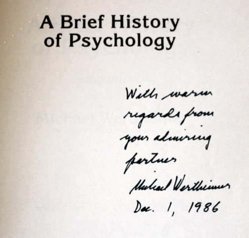 Brief History of Psychology 3rd 1987 9780030095047 Front Cover