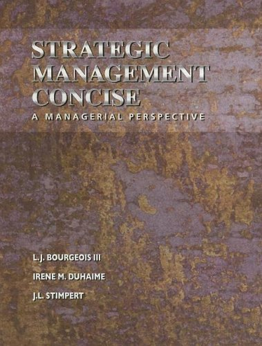 Strategic Management A Managerial Perspective  2001 (Revised) 9780030321047 Front Cover