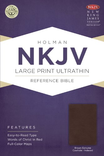 NKJV Large Print Ultrathin Reference Bible, Brown Genuine Cowhide Indexed   2014 edition cover