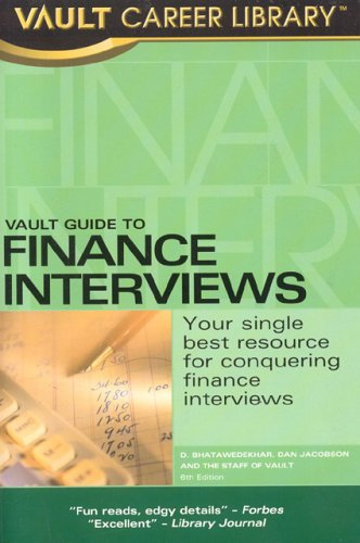 Vault Guide to Finance Interviews 6th edition cover