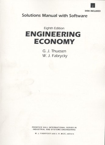 Engineering Economy 8th (Student Manual, Study Guide, etc.) 9780132805049 Front Cover