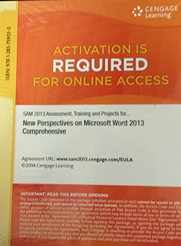 SAM 2013 Assessment, Training and Projects with MindTap Reader for New Perspectives Microsoft Word 2013 Comprehensive Printed Access Card  N/A edition cover