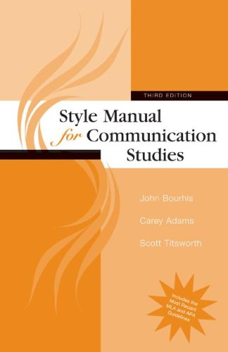 Style Manual for Communication Studies  3rd 2009 edition cover