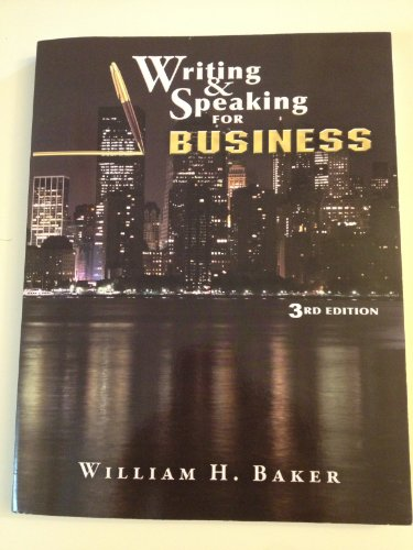 Writing and Speaking for Business Third Edition  2013 edition cover