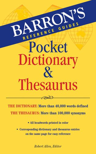 Barron's Pocket Dictionary and Thesaurus   2009 (Student Manual, Study Guide, etc.) edition cover