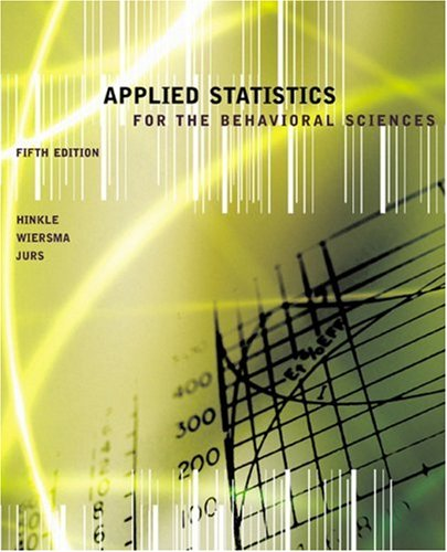 Applied Statistics for the Behavioral Sciences  5th 2003 9780618124053 Front Cover