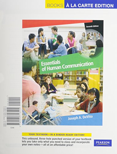 Essentials of Human Communication  7th 2011 edition cover
