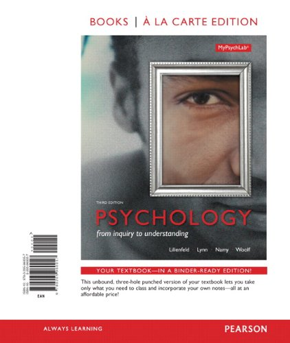 Psychology: From Inquiry to Understanding, Books a La Carte  2013 edition cover