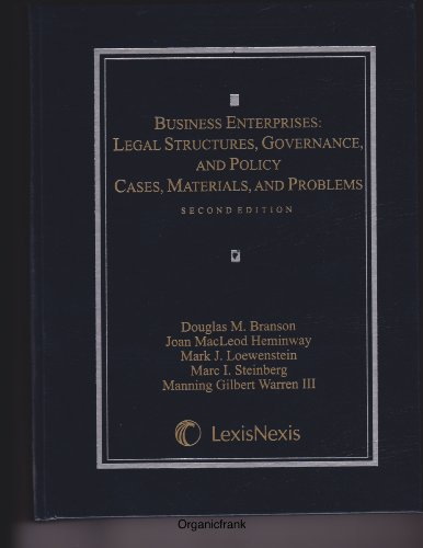 Business Enterprises: Legal Structures, Governance, and Policy  2012 9780769849058 Front Cover