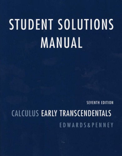 Student Solutions Manual Calculus Early Transcendentals 7th 2008 edition cover