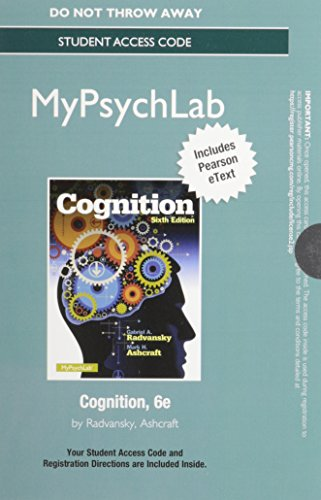 NEW MyPsychLab with Pearson EText -- Access Card -- for Cognition  6th 2014 edition cover