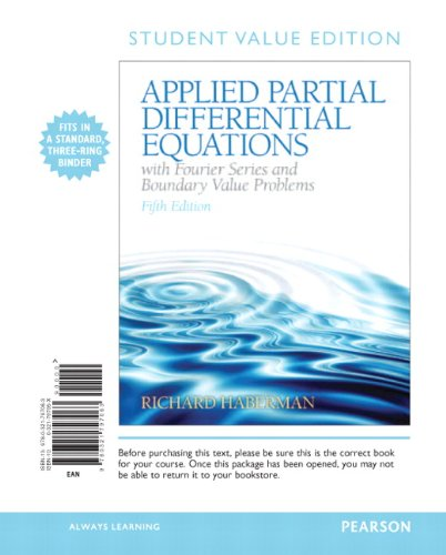 Applied Partial Differential Equations with Fourier Series and Boundary Value Problems, Books a la Carte  5th 2013 edition cover