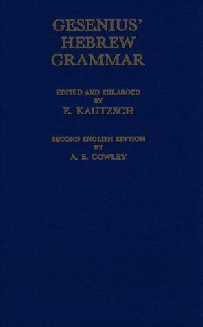 Gesenius' Hebrew Grammar  2nd edition cover