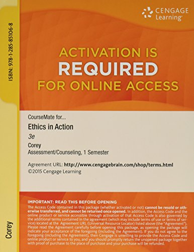 ETHICS IN ACTION-COURSEMATE ACCESS      N/A 9781285851068 Front Cover