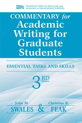 Commentary for Academic Writing for Graduate Students Essential Tasks and Skills 3rd 2012 edition cover