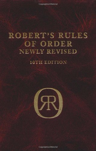 Robert's Rules of Order  10th 2000 (Revised) edition cover