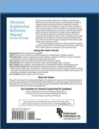 Chemical Engineering Reference Manual for the PE Exam  6th 2004 edition cover