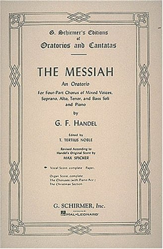 Messiah An Oratorio Complete Vocal Score, 1741 N/A edition cover
