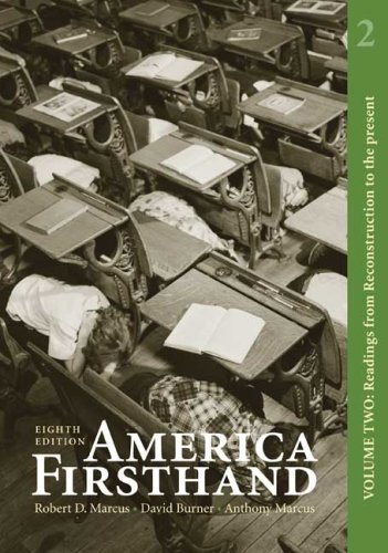 America Firsthand Readings from Reconstruction to the Present 8th 2009 edition cover